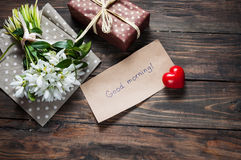 Bouquet snowdrop with good morning note. Close up Stock Photo