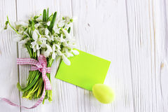 Bouquet of snowdrops flowers with easter eggs. Royalty Free Stock Photography