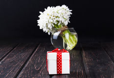 Bouquet of snowdrops in vase Royalty Free Stock Images