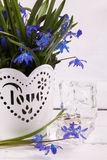 Bouquet of snowdrops and wedding rings Stock Images