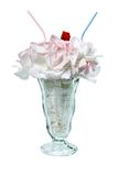 Bouquet soda. White rose bouquet in a soda glass to share Royalty Free Stock Photo