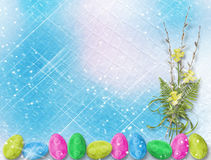Bouquet of soft twigs of willow and narcissus with easter egg Royalty Free Stock Photography