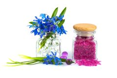 Bouquet of spring flower with lavender aroma salt Stock Photo