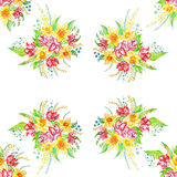 Bouquet of spring flowers. Drawing, executed by hand with watercolor paints. Pattern. Raster image Royalty Free Stock Photos