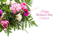 Bouquet of spring flowers isolated on white with text, happy wom Royalty Free Stock Photos