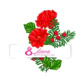 Bouquet of spring flowers for 8 March. Colorful realistic vector illustration. Isolated on white background stock illustration