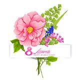 Bouquet of spring flowers for 8 March. Colorful realistic vector illustration. Isolated on white background royalty free illustration