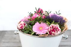Bouquet of spring flowers for mothers day stock images