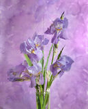 Bouquet of spring purple Irises. Behind  glass. Still life. It is photographed through wet glass Royalty Free Stock Photography