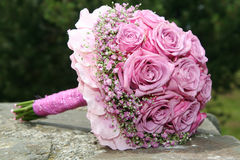 Bouquet on stairs. Wedding bouquet on the stairs Royalty Free Stock Image