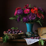 Bouquet. Still life with asters and plums Stock Images