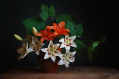 Bouquet. Still life with a bouquet of lilies Stock Photo
