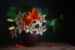 Bouquet. Still life with a bouquet of lilies Royalty Free Stock Photo