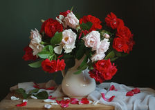 Bouquet. Still life with white and red roses Royalty Free Stock Photography