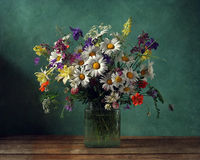 Bouquet. Still life with a bouquet of wild flowers Stock Photo