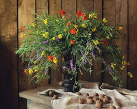 Bouquet. Still life with wildflowers and walnuts Stock Photo