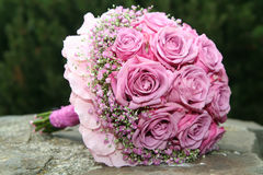 Bouquet on stone. Wedding bouquet on the stairs Royalty Free Stock Photo