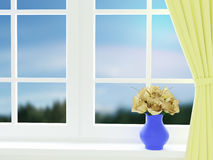 Bouquet of summer roses in glass vase near the window. 3d render Stock Photography