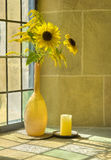 Bouquet of summerflowers in front of a sunlit wind. A bouquet of summerflowers in front of a sunlit window Stock Photo
