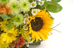 Bouquet with sunflower. Isolated oin white background Stock Image