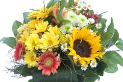 Bouquet with sunflower. Isolated on white background Royalty Free Stock Images