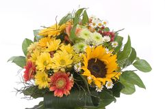 Bouquet with sunflower. Isolated on white background Royalty Free Stock Image