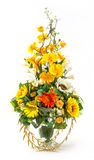 Bouquet of sunflower and vanda in glass vase Stock Image
