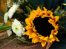 Bouquet with sunflower and white flowers Royalty Free Stock Photos