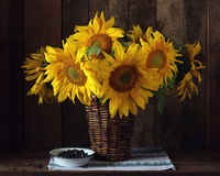 Bouquet of sunflowers in a basket.  Rustic still life. Royalty Free Stock Photos