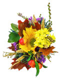 Bouquet of sunflowers and gerbera flowers isolated on white back Royalty Free Stock Photo