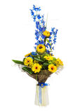 Bouquet of sunflowers and gerbera flowers  in vase isolated on w Stock Photo