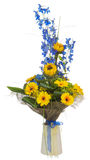 Bouquet of sunflowers and gerbera flowers  in vase isolated on white background. Royalty Free Stock Photos
