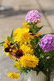 Bouquet from sunflowers, hydrangeas and chrysanthemums Royalty Free Stock Photo