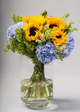 Bouquet of sunflowers, hydrangeas and field daisies Stock Images