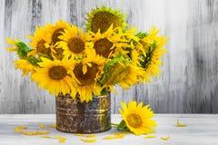 Bouquet sunflowers Still life old tin. Still Life. Bouquet of sunflowers in old tin Royalty Free Stock Photo