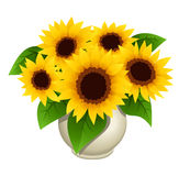 Bouquet of sunflowers in vase Royalty Free Stock Photography