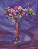 A bouquet of sweet pea flowers watercolor stock illustration