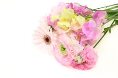 Bouquet of sweetpea ,persian buttercup and transvaa Stock Photos