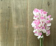 Bouquet of sweetpea on a wooden background Stock Photos
