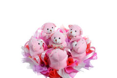 Bouquet from teddy pink bears Stock Image