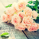 Bouquet of Tender Pink Roses, toned instagram effect Royalty Free Stock Images