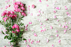 Bouquet of tender pink roses on white rustic wooden background Royalty Free Stock Photos