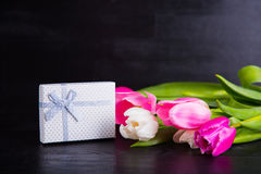 Bouquet of tender pink tulips with gift box on black wooden back Stock Image