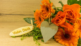 Bouquet with text in German. Thank you very much royalty free stock photo