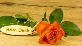 Bouquet with text in German. Thank you very much Stock Image