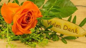 Bouquet with text in German. Thank you very much stock photo