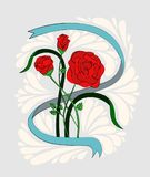 A bouquet of three red roses in a ribbon. Painted in the style of old school or vintage Royalty Free Stock Image
