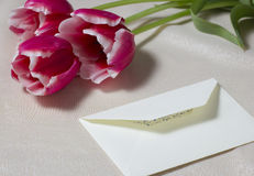 Bouquet from three red tulips and the letter on a table Royalty Free Stock Image
