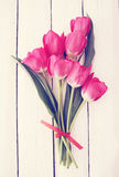 Bouquet, tinted. Big beautiful bouquet of pink tulips, tinted Royalty Free Stock Photos