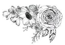 Bouquet tir? par la main de tatouage ? l'encre noire photographie stock